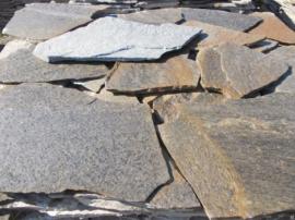 Болгарский сланец Желто-Голубой Коста -Бланка . Толщина 2-3 см. Камень дикарь, используется на облицовку.
